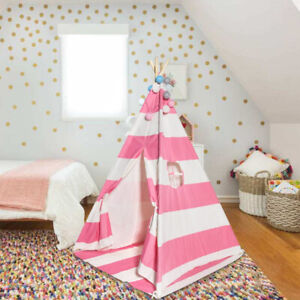 Kids Tepee Indian Play Tent Stable High Quality Pink Stripe /NEW