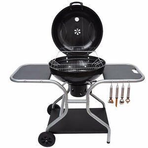 Deluxe Charcoal Trolley BBQ Garden Portable Barbecue Grill Heat