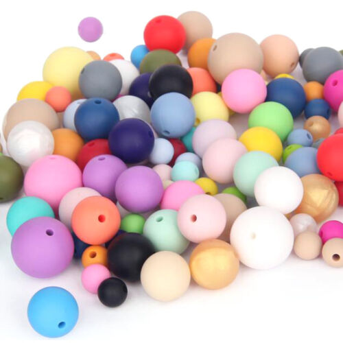 Bulk Silicone Round Beads DIY Baby Chew Teething Necklace Jewelry Teether Making