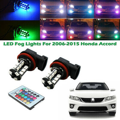 2x RGB Remote Wireless H8 H11 LED Fog Lights Bulbs For 2006-2015 Honda Accord