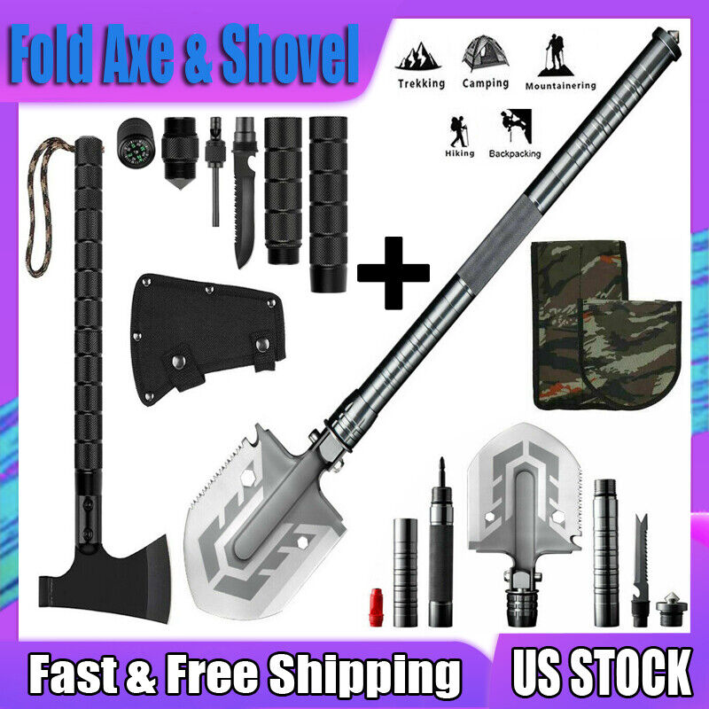 Survival Folding Shovel Axe Set Tactical Hatchet Spade Camping Hunting Tools