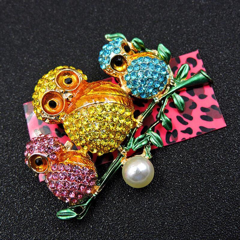 Pin By Crystal Johnson On Baldwin Hills Dam Break: Fashion Enamel Cute Pearl Owl Color Crystal Betsey Johnson