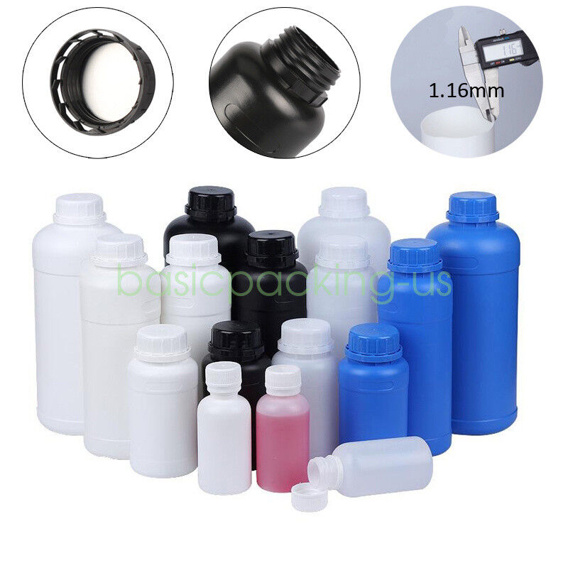 Lot 100ml 250ml 300ml 500ml Round HDPE Bottles Lab Plastic Liquid Reagent-Bottle