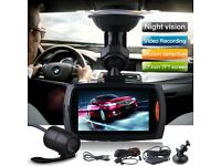"2.7"" Dual Lens Car Vehicle 1080P HD Dash Camera DVR Cam Night Vision Recorder UK"