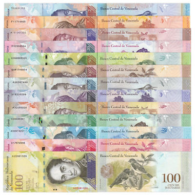 Venezuela 2 - 100000 (100,000) Bolivares 2014-2017 (13 Pieces Pcs Full Set), Unc