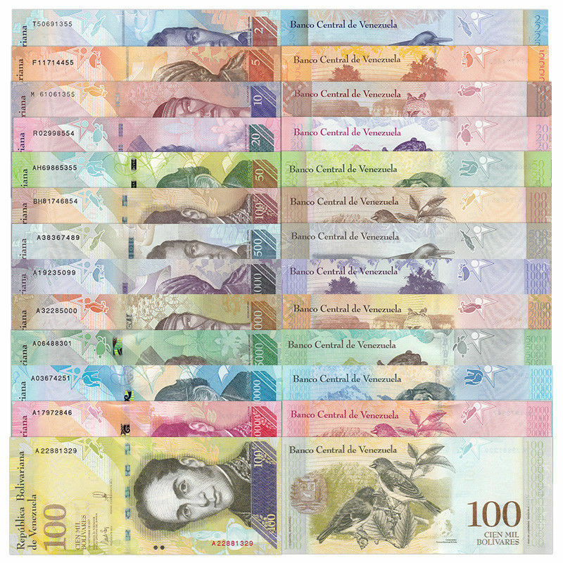 Купить Venezuela 2 - 100000 (100,000) Bolivares 2014-2017 (13 Pieces Pcs Full Set), Unc