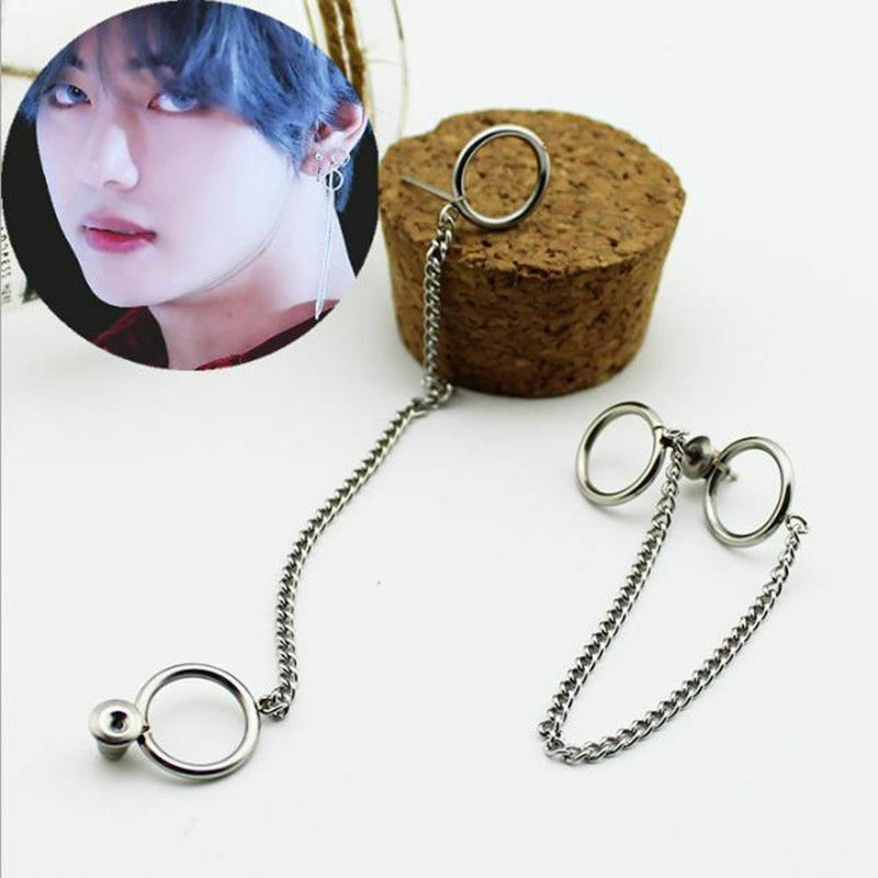 2PC KPOP BTS JIN JINMIN Earrings Bangtan Boys V Stud Doulbe Ring Chain Earrings