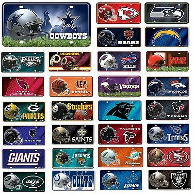 NFL Teams -  Metal License Plate Tag - Pick Your Team