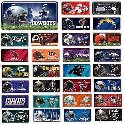 NFL Teams -  Metal License Plate Tag - Pick Your Team Metal Team Plate