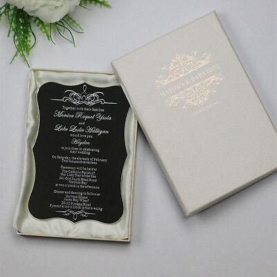 Personalised Laser cut Unique Luxury Acrylic Wedding Invitation cards,Ivory Box