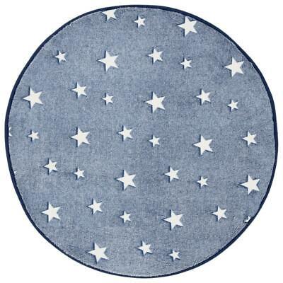 Glow in the Dark Rug Navy Blue Stars Kids Bedroom Round Mat 70 x 70cm ()