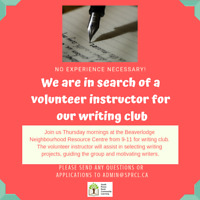 Volunteer Writing Club Instructor Needed