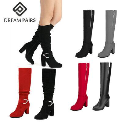 DREAM PAIRS Women Thigh Knee High Chunky Heel Ladies Almond