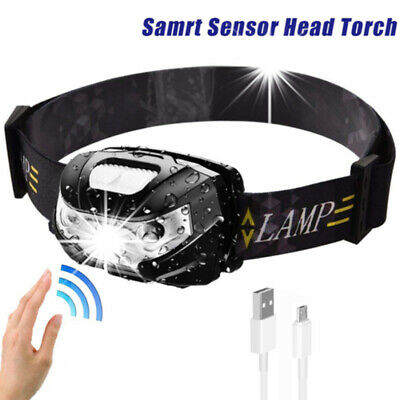 Rechargeable Sensor Head Torch Light Travel Outdoor Hiking Fishing LED Headlamp