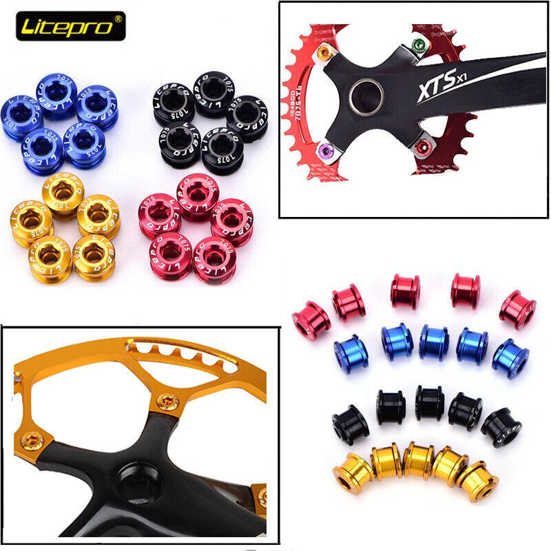 Litepro Aluminum alloy CNC Mountain Road Bike 4PCS//5PCS Chainring Bolts Screws