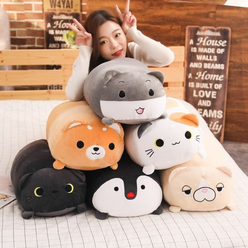 Plush Toy Cushion Pillow Stuffed Animal  Doll Cat Dog Pengui