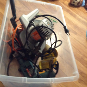 2 bins of assorted power tools