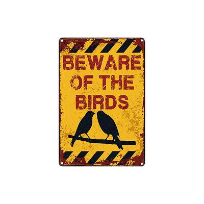 Metal Tin Sign beware of the birds  Decor Bar Pub Home Vintage Retro