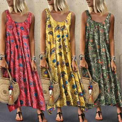 Women Sleeveless Kaftan Oversized Dress Casual Vintage Floral Long Beach Dresses