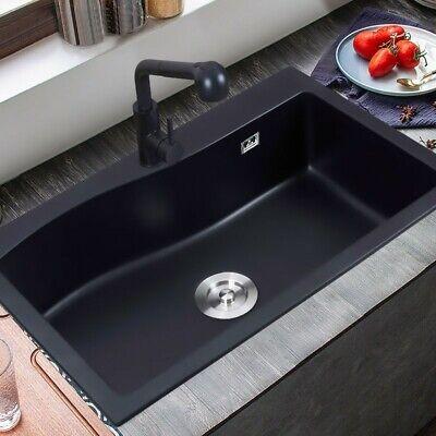 "Modern 30"" Black Kitchen Sink Rectangular Drop-in Sink Single Bowl Quart Sink"