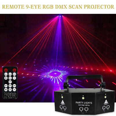 Remote LED Laser Light 9-EYE DMX Scan Projector Strobe DJ Party Stage Lights US
