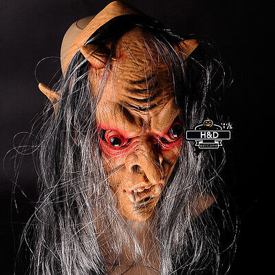 Scary Lord of Ring Latex Mask Gray Hair Ghost Halloween Costume Fancy Dress
