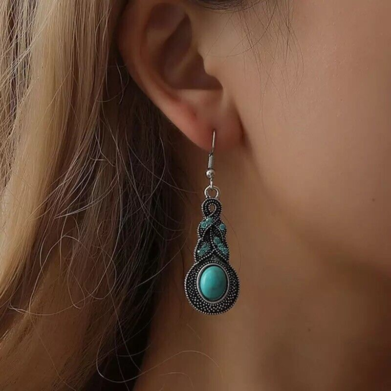 BOHO Silver Turquoise Cubic Drop  Dangle Hook Summer Vintage Earrings E29 Earrings