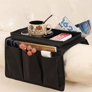 4 Pockets Sofa Chair Arm Rest Organiser Pouch Tray Armchair Caddy Storage Holder