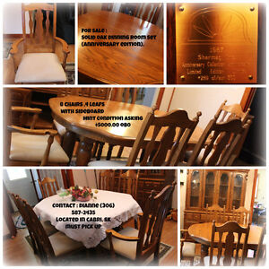 Limited edition plated solid oak dining room set
