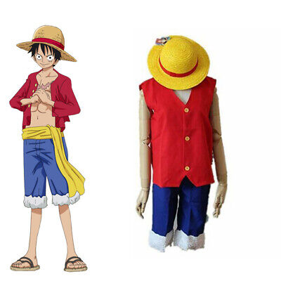 One Piece Monkey D Luffy New World Costume Outfits Halloween & Cosplay With Hat](One Piece Luffy Halloween Costume)