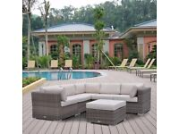 Brand New Luxurious Brown/Cream Modern Rattan Sectional Sofa Set with FREE Extra Pillows and Cover