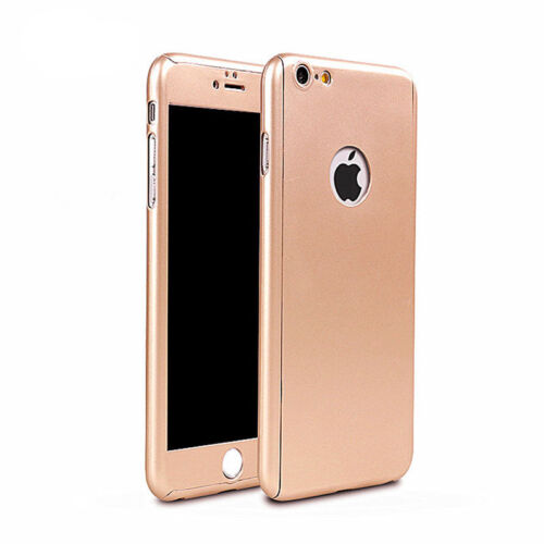For iPhone X 6 6s 7 Plus 360° Case Ultra Thin Slim Hard Cover+Tempered Glass