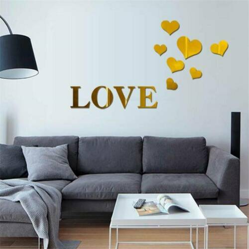 Home Decoration - Removable Mirror Love Hearts Wall Sticker Decal DIY Home Room Art Mural Decor R