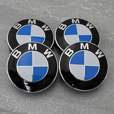 4 x BMW WHEEL CENTRE CAPS 68MM 10 PIN CLIP FITS 1,3,5,7 Series E90 E34 Z4