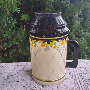 Vintage Coffee Canister Dispenser Tin Club Aluminum Crocus Patte