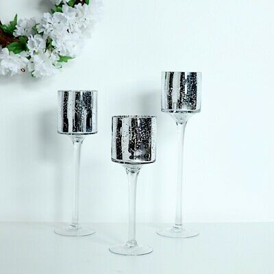 Silver Set of 3 Raised Cylinder Glass Vases CENTERPIECES Wedding Party Supplies