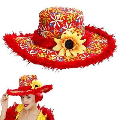 Hut Ibiza mit Plüschrand und Sonnenblume -rot- Hippie Damen Kostüm Zubehör - Sonne Hut Kostüm