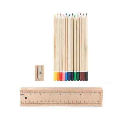 Kikkerland Doodle Box Wood Colouring Pencils Ruler Case Wooden Pencil Case Set