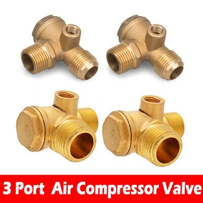 Air Compressor 3-port Brass Male Threaded Check Valve Connector Tool Vp