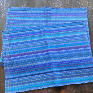 4 Woven Placemats, Blue, Turquoise, Purple