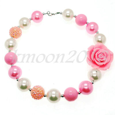 Pink flowers Chunky Beads Bubblegum Necklace for Kids Chunky Gumball Necklace (Bubblegum Necklace Beads)