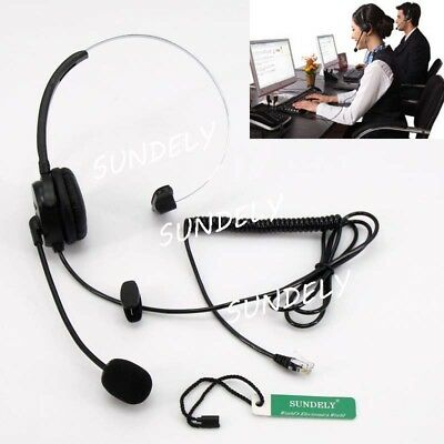 K10 Monaural Headset for Call Center Home Office Phone Black