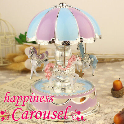 LED Light Horse Carousel Merry-Go-Round Music Box Children Christmas Music Gift Christmas Carousel Music Box