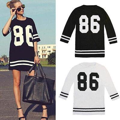 Women Fashion Baseball Clothes Short Sleeeve Loose Sports Mini Dress Oversized