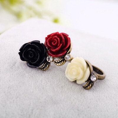 (Fashion Rose Flower Ring Women's Ring Retro Crystal Rhinestone Jewelry Gift)
