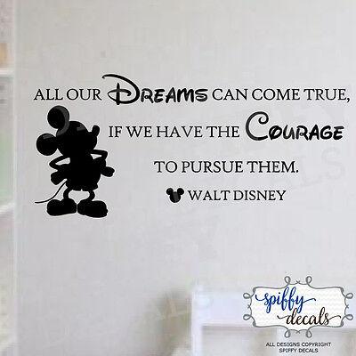 Mickey Mouse Walt Disney Dreams Come True Pursue Vinyl Wall Decal Decor Quote  - Mickey Mouse Decor