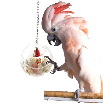 Parrots Ball Toys Food Feeder Hanging Cage Birds Bell Foraging Chain For Treats