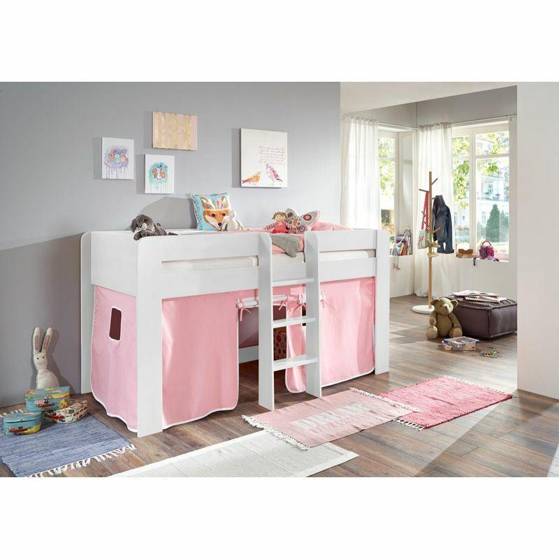 Halbhohes Hochbett weiß 90x200cm Spielbett Kinderbett Kinderzimmer Vorhang rosa