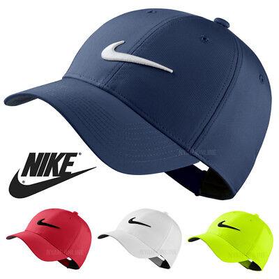 NEW Nike SWOOSH BASEBALL CAP BLACK PLAIN GOLF LEGACY 91 TECH FITTED PEAK HAT