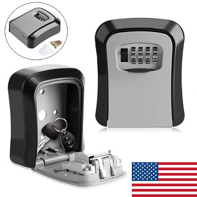 Hot 4 Digit Combination Key Holder Safe Security Storage Box Lock Wall Mount Kit
